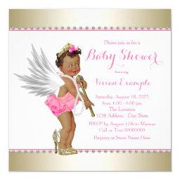 Ethnic Princess Pearl Pink Gold Angel Baby Shower