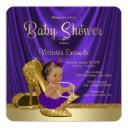 Ethnic Purple Ballerina Gold Shoe Baby Shower Invitations