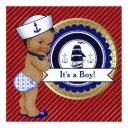 Ethnic Sailor Boy Nautical Baby Shower Invitations