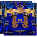 Ethnic Twin Baby Shower Boy Prince Blue Gold