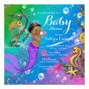 Ethnic Under The Sea Mermaid Baby Shower Invitations