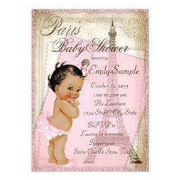 Ethnic Vintage Paris Baby Shower Invitation