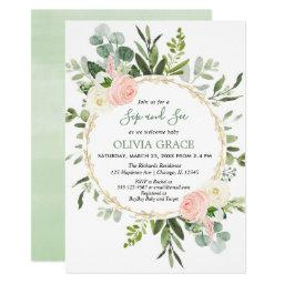 Eucalyptus Foliage Pink Gold Girl Sip And See Invitation