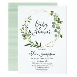 Eucalyptus Geometric Baby Shower Invitation