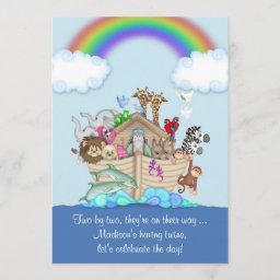 Expecting Twins Baby Shower Invitation - Noah's Ar