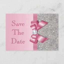 Fake Pink Bow Diamonds Save The Date Baby Shower