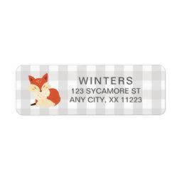 Fall Fox Gingham  postage stamp Label