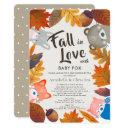 Fall In Love Woodland Animals Brown Shower By Mail Invitation