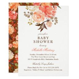 Fall Peach Olive Watercolor Floral Baby Shower
