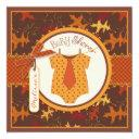 Fall Tie And Autumn Leaves Boy Baby Shower
