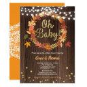 Fall Wreath Baby Shower Rustic Wood Thanksgiving Invitation