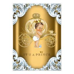 Fancy Blue and Gold Carriage Prince Baby Shower