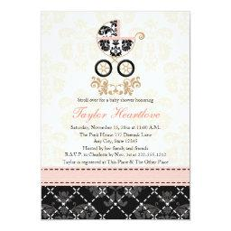 Fancy Pink and Black Damask Carriage
