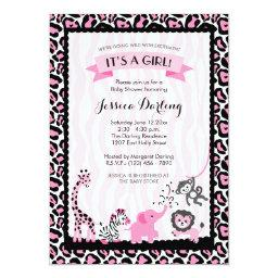 Fancy Pink & Black Safari Girl Baby Shower