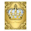 Fancy Prince Baby Shower Baby Blue Gold Invitation