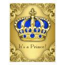 Fancy Prince Baby Shower Blue And Gold Invitations