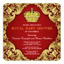 Fancy Prince Baby Shower Red Invitation