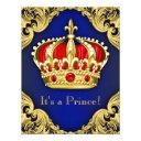 Fancy Prince Baby Shower Royal Blue Invitation