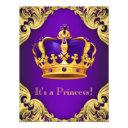 Fancy Purple Gold Princess Baby Shower Invitations