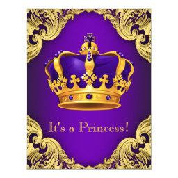 Fancy Purple Gold Princess Baby Shower Invitation