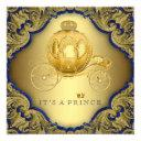 Fancy Royal Blue Gold Glitter Prince Baby Shower Invitations