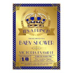 Fancy Royal Blue Gold Prince Baby Shower