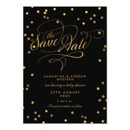 Fancy Script Confetti Baby Shower Save The Date Invitation