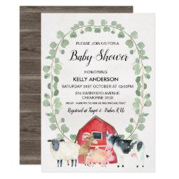 Farm Animals Wreath Baby Shower Invitation