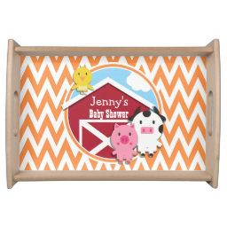 Farm Theme ; Orange and White Chevron Serving Tray