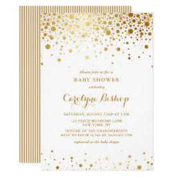 Faux Gold Confetti Dots Baby Shower