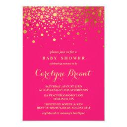 Faux Gold Foil Confetti | Hot Pink Baby Shower