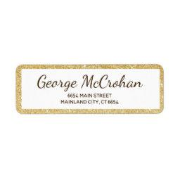 Faux Gold Glitter Foil Return Address Label