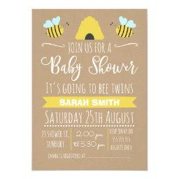 Faux Kraft Twins Busy Bee baby Shower