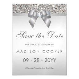Faux Silver Sequins Bow Save The Date Baby Shower Magnetic