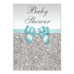 Faux Silver Sequins Teal Blue Baby Shower