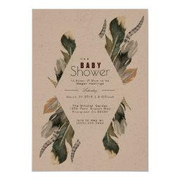 Feather Watercolor | Boho Baby Shower Invite