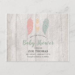 Feathers Boho Baby Shower Save The Date  Post