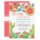 Fiesta Cactus Baby Shower Girl Paper Fan Floral Invitation