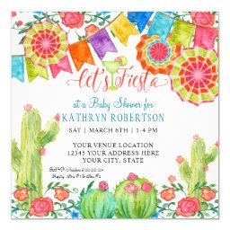 Fiesta Margarita Cactus Baby Boy Shower Banner Art Invitations