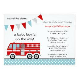 Fire Truck Polka Dot Banner Boy Baby Shower