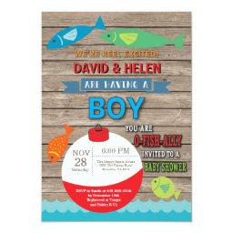 Fishing Baby Shower Invitation Boy Fish