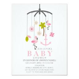 Flamingo Mobile Girl Modern Baby Shower