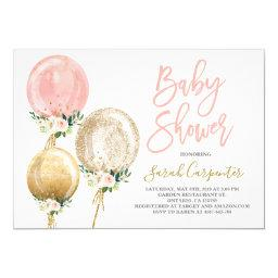 Floral Balloon Baby Shower Girl Invitation