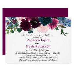 Floral Blooms Plum - Couples' Baby Shower Invitation