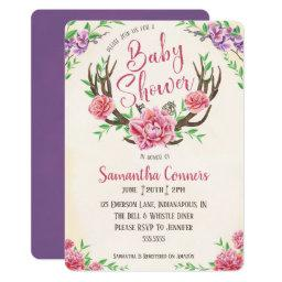 Floral Boho Antler Baby Shower Invitation