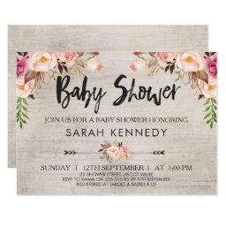 Floral Boho Rustic Baby Shower Invitations
