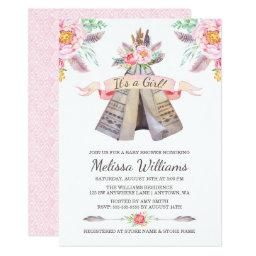 Floral Boho Tribal Teepee Girl Baby Shower