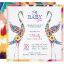 Floral Botanical Stork Baby Girl Shower Invitation