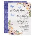 Floral Butterfly Kisses Baby Shower Invitation Boy