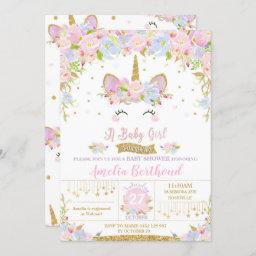 Floral Cute Unicorn Baby Shower Invitation Girl